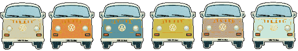 Classic and Camper VW Campervan Wedding Hire - Great row of little campers
