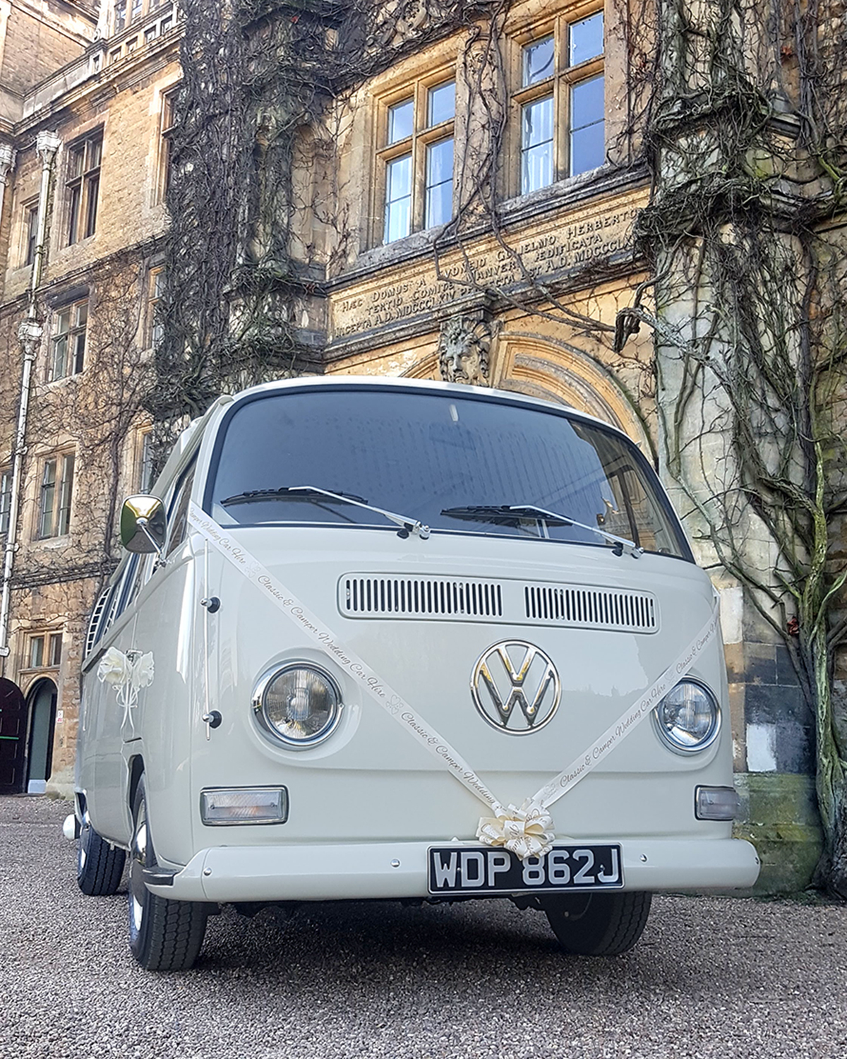 Classic and Camper VW Campervan Wedding Hire - Showing the interior and the unique sliding door panel